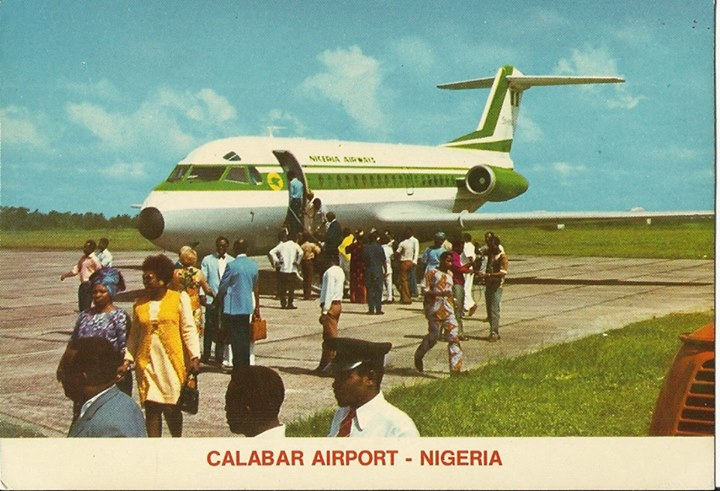 Nigeria-Airways-Fokker-28-at-Calabar-airport-1970s