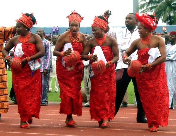 PIC. 16. WOMEN PERFORMING AWUYA, EDO CULTURAL DANCE AT THE 2011 NAFEST IN CALABAR ON THURSDAY (27/10/11).