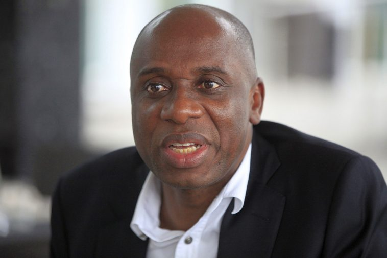 CORRECTION REMOVES REFERENCE TO POPULATION - Rivers state governor, Rotimi Chibuike Amaechi, speaks to foreign journalist in Lagos, Nigeria, Monday Sept. 2, 2013. The governor says that a new splinter group he formed within the ruling party along with six other governors and a former presidential candidate are trying to pressure the party to do more about poverty, crime and education. The move is the first major internal challenge to President Goodluck Jonathan since he was elected in 2011. Gov. Rotimi Chibuike Amaechi said Monday that they intend to transform the ruling People's Democratic Party from a party that presents a candidate for elections to a party with better ideology.  (AP Photo/Sunday Alamba)
