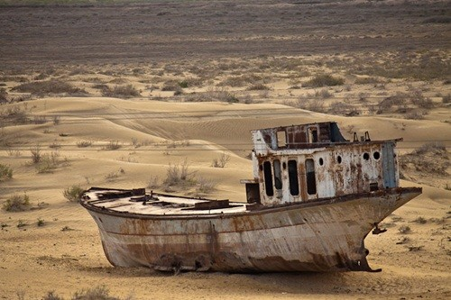 To think this was a thriving fishing port in the 1960's and the Aral Sea was a bit deeper then.