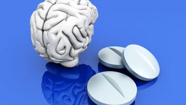 Some pills for the Brain. Symbolic for Drugs Psychopharmaceuticals Nootropics and other Medications. 3d rendered Illustration.