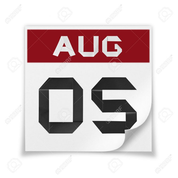 Calendar of August 5, on a white background.