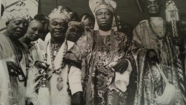 First role, 3rd from left; Oba Adeniji Adele (1949–1964) of Lagos with (First role, 4th from left) Alake of Abeokuta, Oba Ladapo Samuel Ademola II (27 Sep 1920 – 27 Dec.1962). Picture taken circa 1950. Our source: Nigerianostalgia Thanks to:nigerianostalgia.tumblr.com