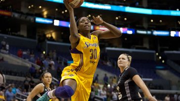 Nneka Ogwumike #30 of L.A. Sparks drives in for a lay up against San Antonio Stars during the first half of their WNBA match at The Staples Center in Los Angeles, California on Sunday, June 22, 2014. L.A. Sparks lost to San Antonio Stars 69-72. JORGE CRUZImage source: www.fullcourt.com