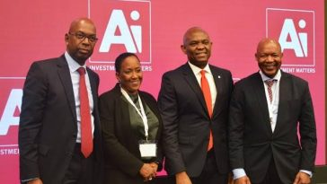 Mr. Tony Elumelu, Chairman Heirs Holdings (2nd right) with recipients of the 'Person of the year' award, Mr. Bob Collymore, CEO Safaricom (right), Ms. Vicki Fuller, CIO, New York State Common Retirement Fund (2nd left) and Dr Daniel Matjila, CEO, Public Investment Corporation of South Africa at the AI Investment Summit in New York.