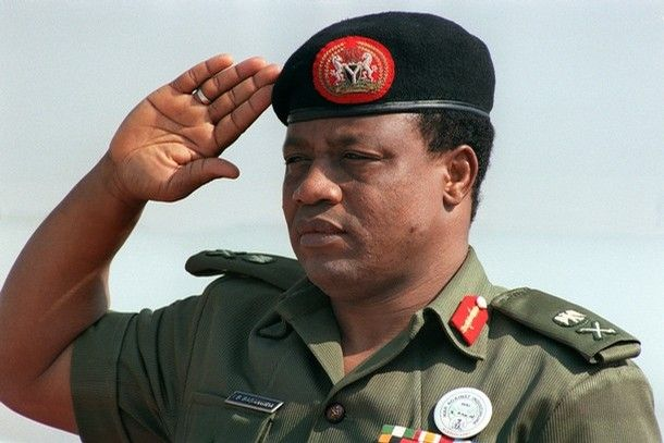 """(FILES) -- File picture dated 31 August 1986 shows Nigeria's strongman General Ibrahim Babangida saluting during the 8th summit of Non Allied Nations held in Harare. Nigeria's former military dictator, General Ibrahim Babamosi Babangida, better known by his initials IBB, has dropped his bid to be presidential candidate of the ruling Peoples Democratic Party (PDP). """"I wish to convey to you my intention to withdraw from the PDP nomination process,"""" Babangida told Nigerian President Olusegun Obasanjo in a letter seen 11 December 2006 by AFP.      AFP PHOTO DOMINIQUE FAGET(Photo credit should read DOMINIQUE FAGET/AFP/Getty Images)"""
