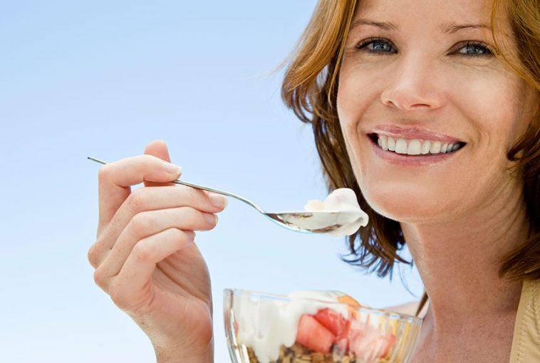 lady-taking-yogurt