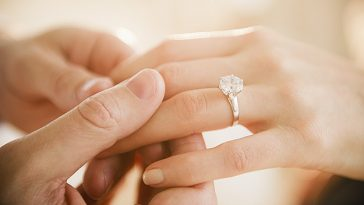 USA, New Jersey, Jersey City, Close up of man's and woman's hands with engagement ring