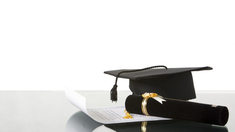 Graduation cap and certificate