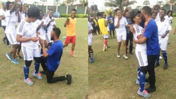 Nigerian Man Proposes To His Footballer Girlfriend On The Pitch