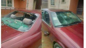 Nigerian Lady destroys husband's car