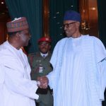 Pres. Buhari receives Gen Yakubu Gowon at the state house Abuja