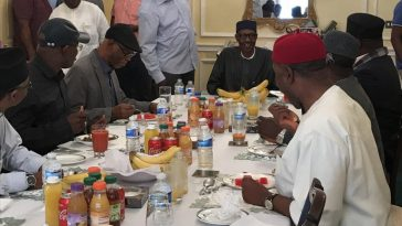 APC Governors Visits President Buhari In London