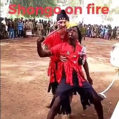 Sango Worshiper Gets Burnt While 'Breathing' Fire