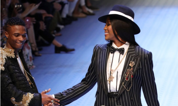 Wizkid Walks Dolce & Gabbana's Men's Fashion Show alongside Naomi Campbell and Tinie Tempah