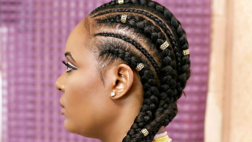 This Two-Step Ghana Weaving Hairstyle is Perfect for Nigerian Women With Round Faces